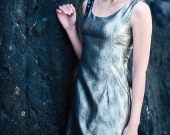 AMELIA - Black and Gold Dress with Sequin Embroidery