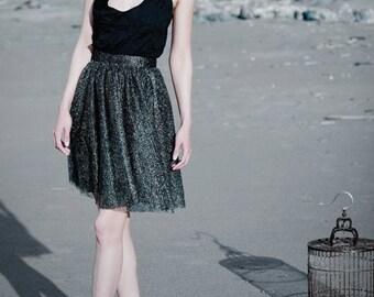 AUDREY - Black and Gold Geometric Lace Dress