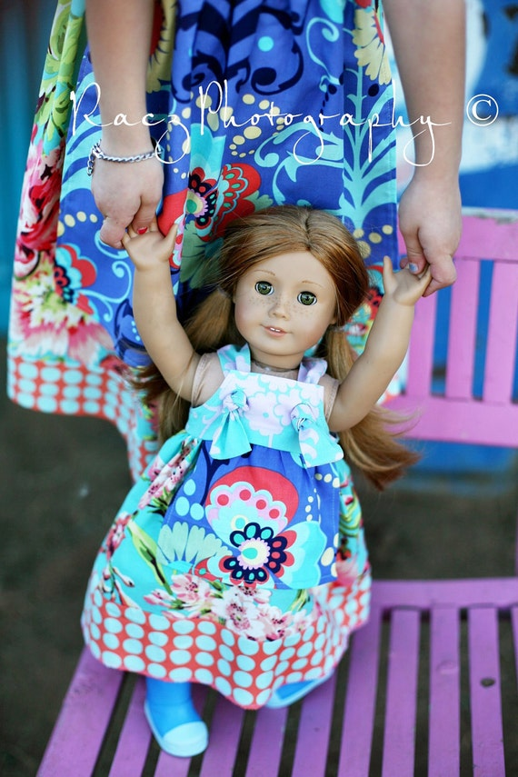 American Girl Doll Knot Apron Dress to match yours -- Made to Match fits 15 - 18 inch dolls