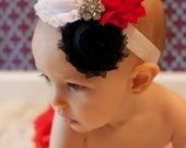 4th of July Headband Shabby and Chic Frayed Fabric Rose Flowers on a White Fold Over Elastic Headband red White Navy Blue