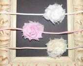 Set of 3 Mini Shabby and Chic Frayed Fabric Rose Flower on Skinny Elastic Headbands White Cream Pink Perfect for Newborn