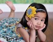 Yellow Flower Headband Mustard Yellow and Grey Wool Felt Dalia Flower Headband M2M Matilda Sunflower Jane