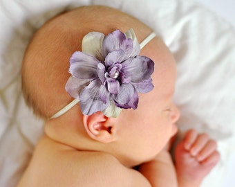 Vintage Inspired Purple Flower with Tan and Beige on a Cream Skinny Elastic Headband All Sizes Newborn through Adult Great Photography Prop