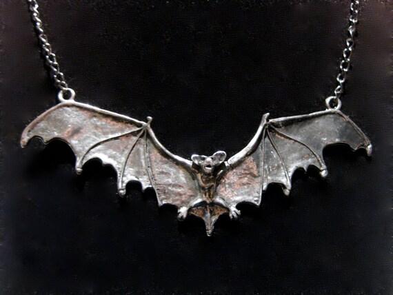 Large Bat Necklace - Antique Silver