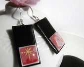 Sakura, Pink Cherry blossoms japanese Chiyogami earrings
