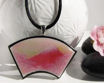 Japanese Fuji San and Cherry Blossom Sakura Spring  pendant * SALE * Stock Clearance