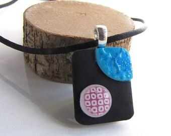KADAN, Violets and the sky, japanese chiyogami pendant
