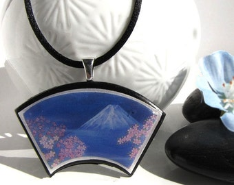 Japanese Fuji San and Blue and Pink Spring  pendant * SALES * STOCK CLEARANCE