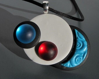 Atomic Garden, Red and Turquoise minimal Pendant