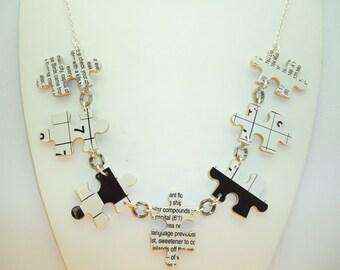 Handmade, Jigsaw Necklace, Black and White Necklace, Crossword Puzzle Necklace, Sudoku Necklace, Eco Friendly Jewellery, Monochrome