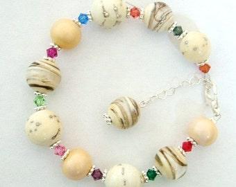 lampwork sterling crystals lampwork bracelet custom boutique