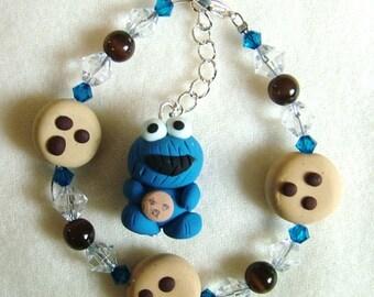 cookie monster custom sterling bracelet