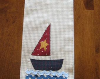 Small Sail Boat Appliqued Towel