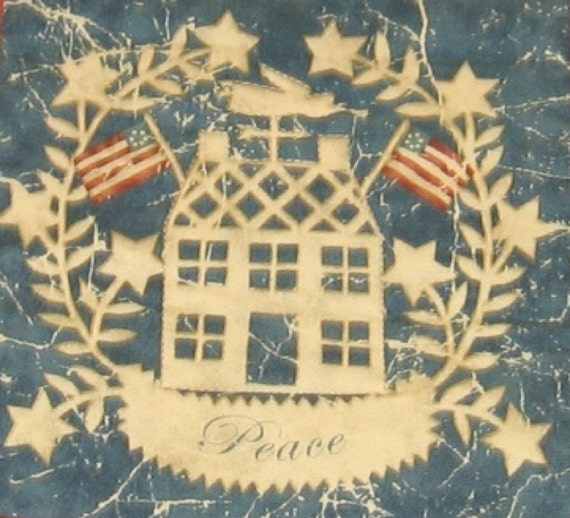 Americana Patriotic Table Runner Peace and Liberty