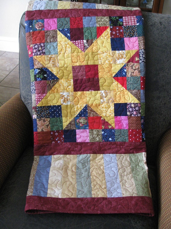 Handmade Patchwork Star Lap Quilt
