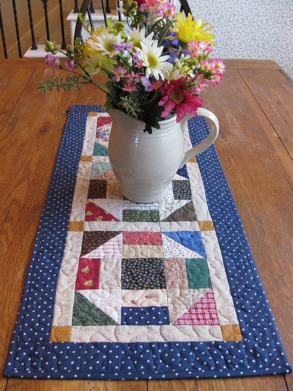 Churn Dash Quilted Table Runner