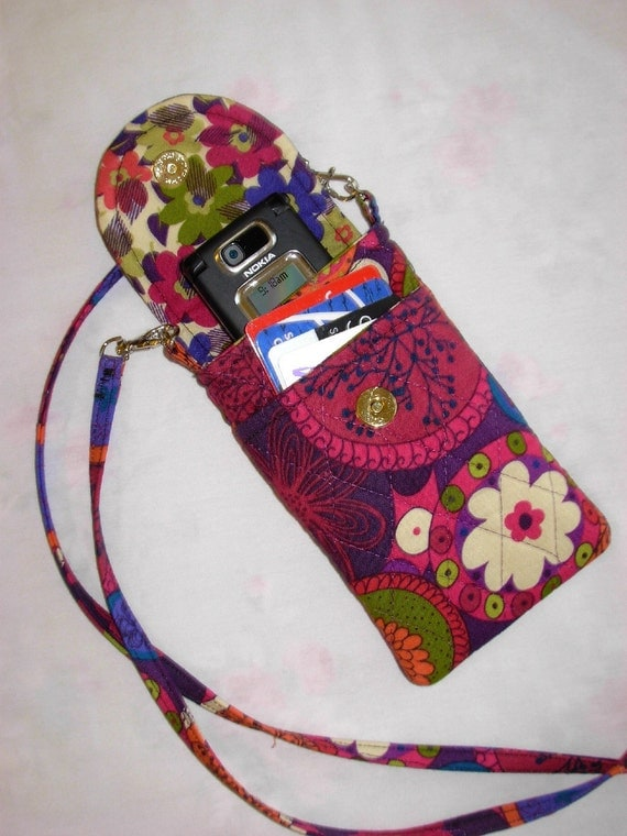 Cell Phone Case Detachable Neck Strap Quilted Designer Fabric  Purple Red Blue Green Floral
