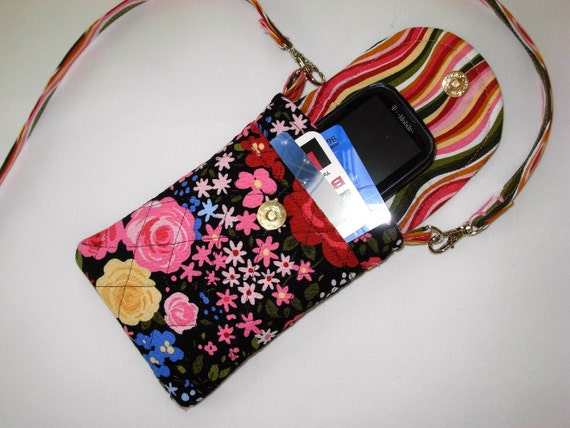 Cell Phone Case Detachable Neck Strap Quilted Rose Floral Pink Black