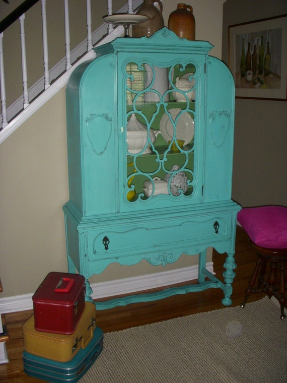 Turquoise dining room hutch - RESERVED FOR EMMA