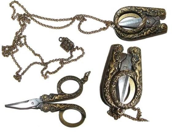 Necklace Folded Scissors Cherubs Very Unusual Love Star Vintage Ornate