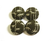 Fabric Sewing Buttons - 4 Large Fabric Buttons Set - Bamboo Shoots
