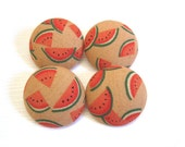 4 Large Fabric Buttons Set - Watermelons