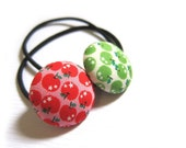 Button Ponytail Holders - Apples in Red and Green