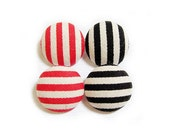Fabric Sewing Buttons - 4 Large Fabric Buttons Set - Red and Black Stripes