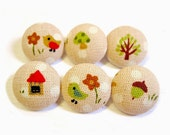 6 Small Fabric Buttons Set - Sweet Country - Fabric Covered Buttons