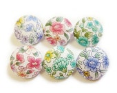Fabric Covered Buttons - Peonies - 6 Medium Buttons