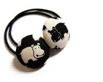 Button Ponytail Holders - Twin Hippos Again