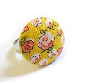 Fabric Button Ring - yellow floral ring