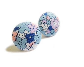 Button Earrings / Clip On Earrings - blue floral earrings