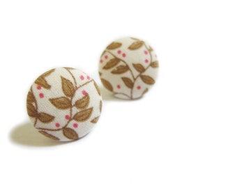 Clip On Earrings / Stud Earrings / Button Earrings - - floral earrings
