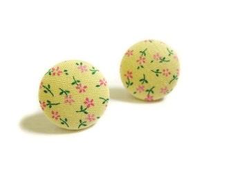 Button Earrings / Clip On Earrings - yellow floral earrings