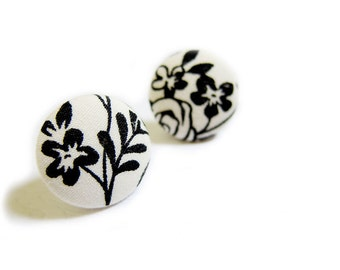 Button Earrings / Clip On Earrings - black and white floral earrings