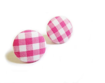 Button Earrings / Button Clip On Earrings - pink gingham earrings