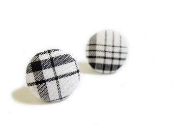 Button Earrings / Clip On Earrings - plaid earrings