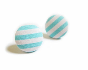 Clip On Earrings / Stud Earrings / Fabric Button Earrings - cyan stripes earrings