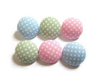 6 Small Fabric Buttons Set - Polka Dots in Pastel - Fabric Covered Buttons