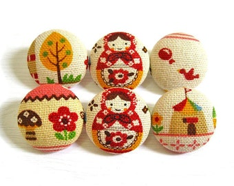 Fabric Covered Buttons - Pink Babushka - 6 Medium Buttons