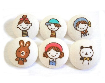 Fabric Covered Buttons - Little Miss Japan - 6 Medium Buttons