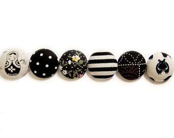 Sewing Buttons / Fabric Buttons - 6 Large Fabric Buttons Set - Black Buttons