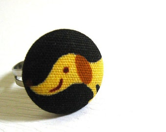 Fabric Button Ring - dachshund ring LAST PIECE