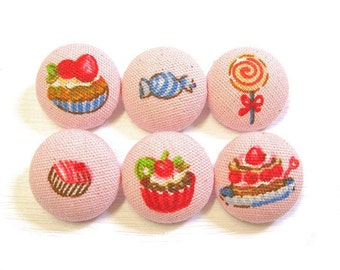 Fabric Covered Buttons - Sweet Treats in Pink - 6 Medium Fabric Buttons