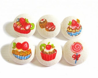 Fabric Covered Buttons - Sweet Treats - 6 Medium Fabric Buttons