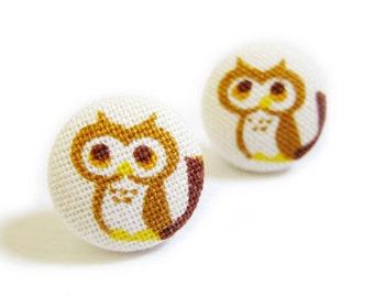 Button Earrings / Clip On Earrings - owl earrings on white