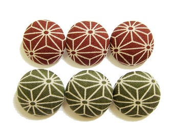 6 Large Fabric Buttons Set - Asanoha in Olive Green & Wine Red