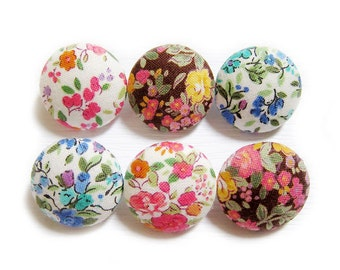 Sewing Buttons / Fabric Buttons - 6 Medium Fabric Buttons Set - Vintage Garden