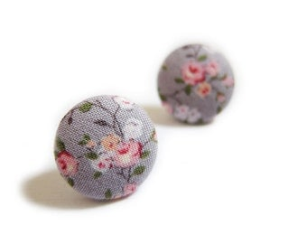 Button Earrings / Button Clip On Earrings - purple floral earrings